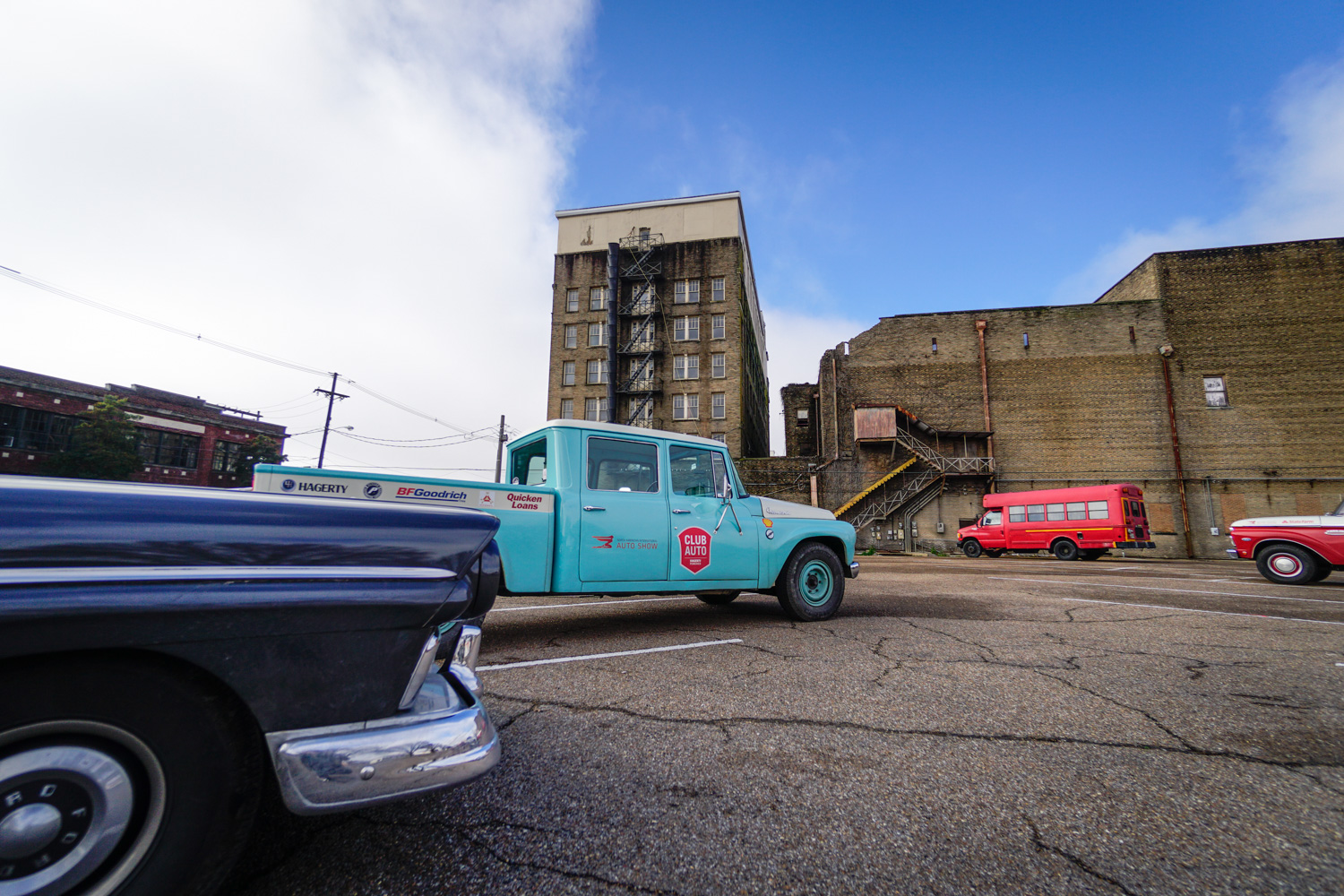 The Drive Home 1962 International Harvester Travelette ranchero and buildings