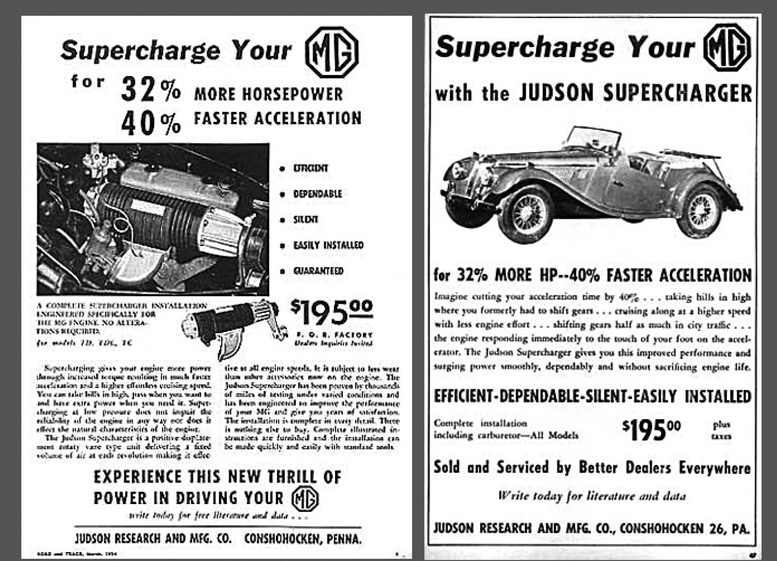 Judson MG supercharger ad