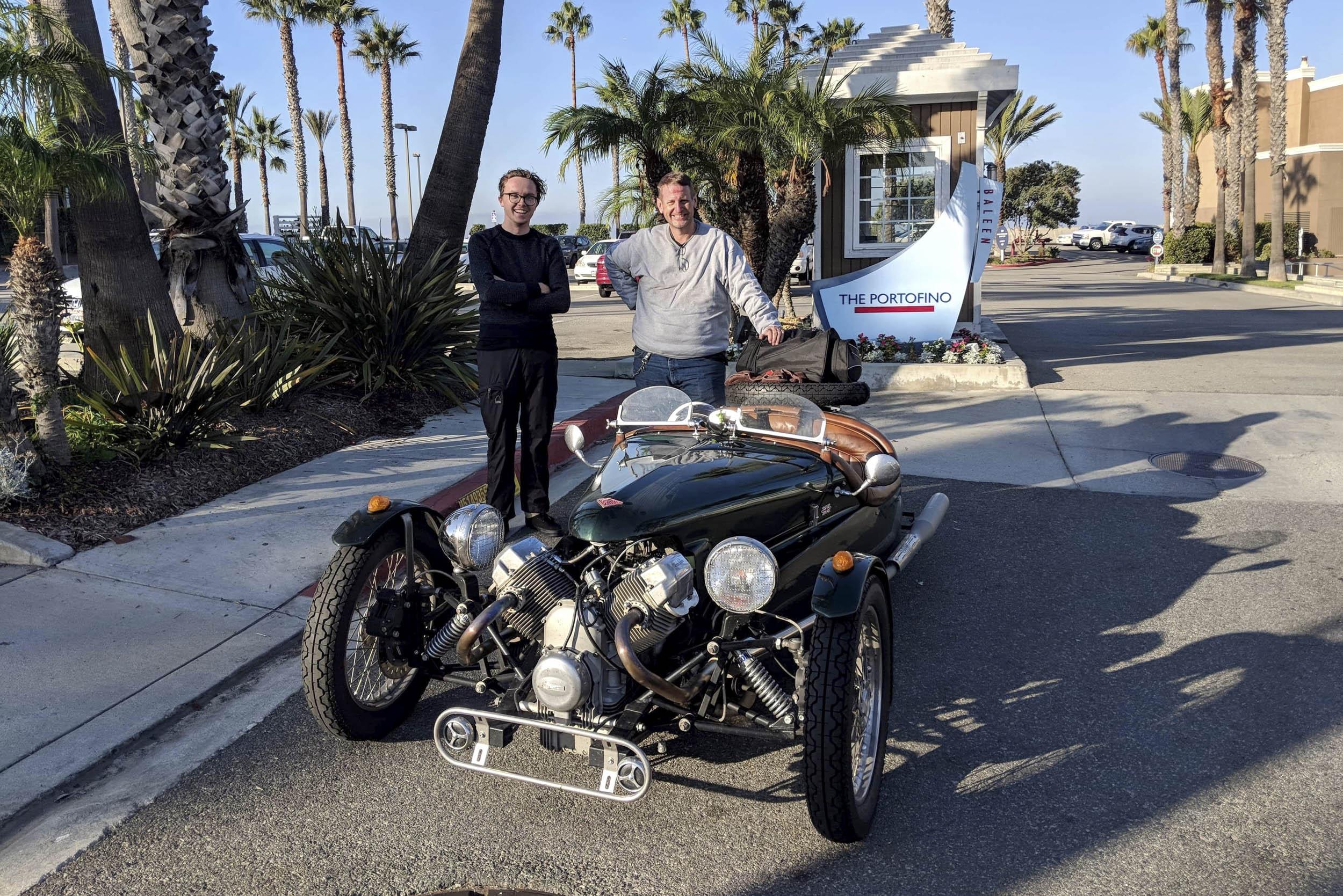 Brian Daughdrill and Lochie Ferrier arrive in Redondo Beach, California