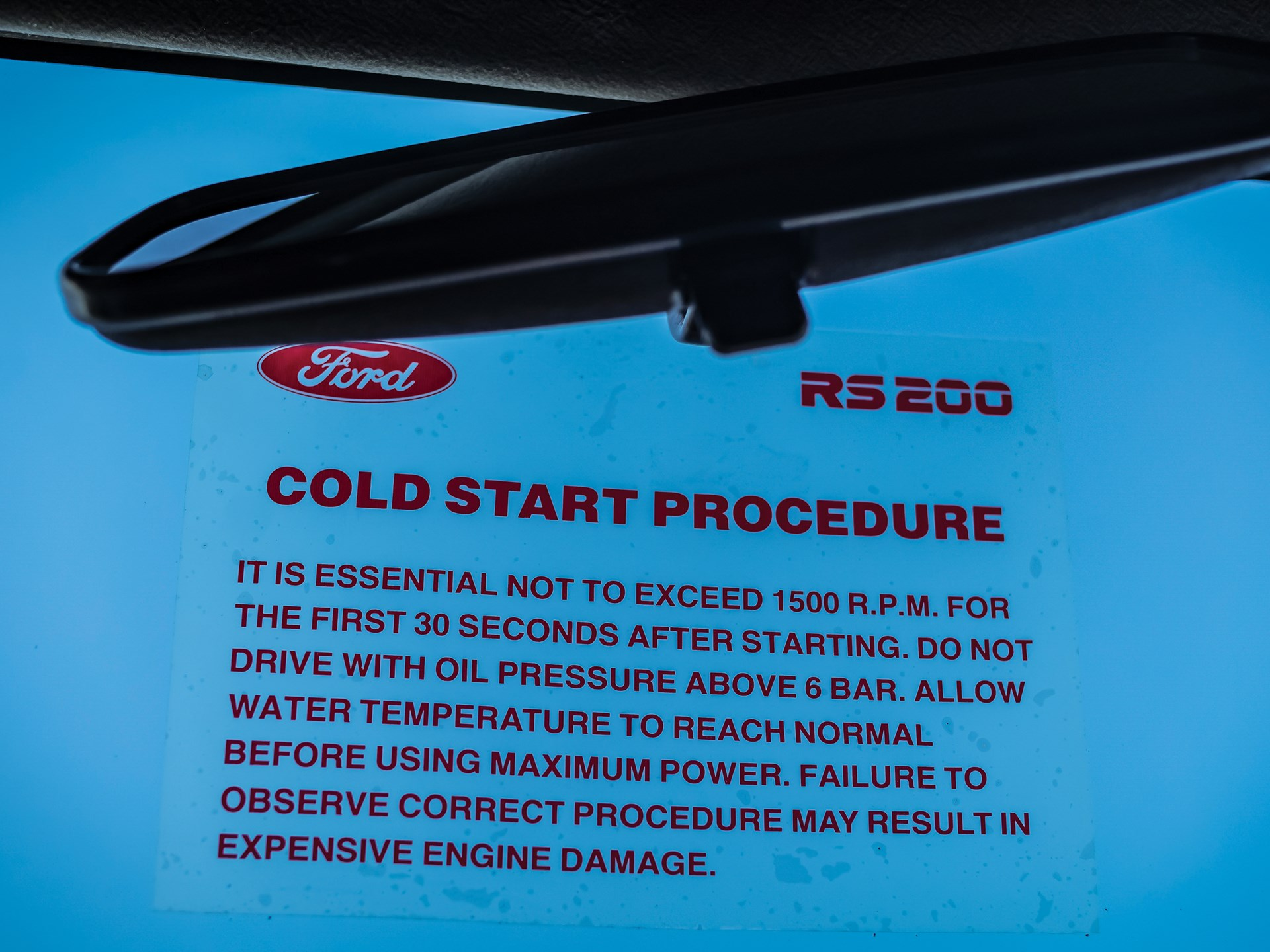 1986 Ford RS200 cold start warning