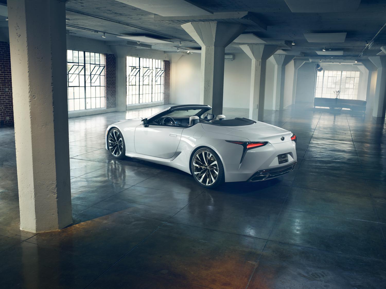 2020 Lexus LC Convertible concept 3/4 rear