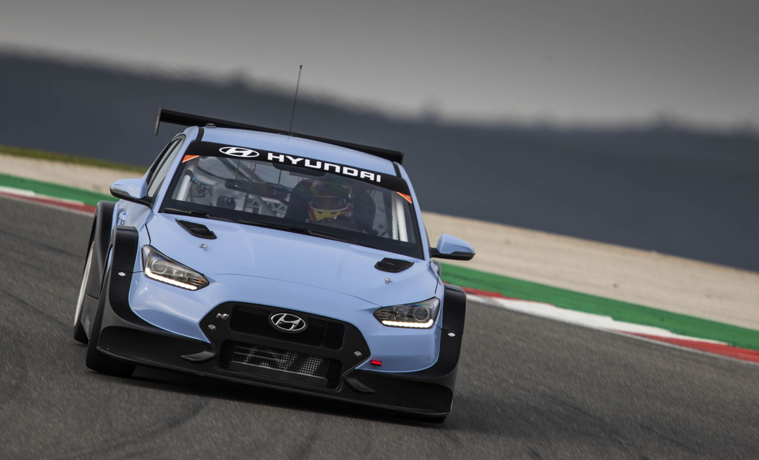 Hyundai Veloster N TCR front on the track