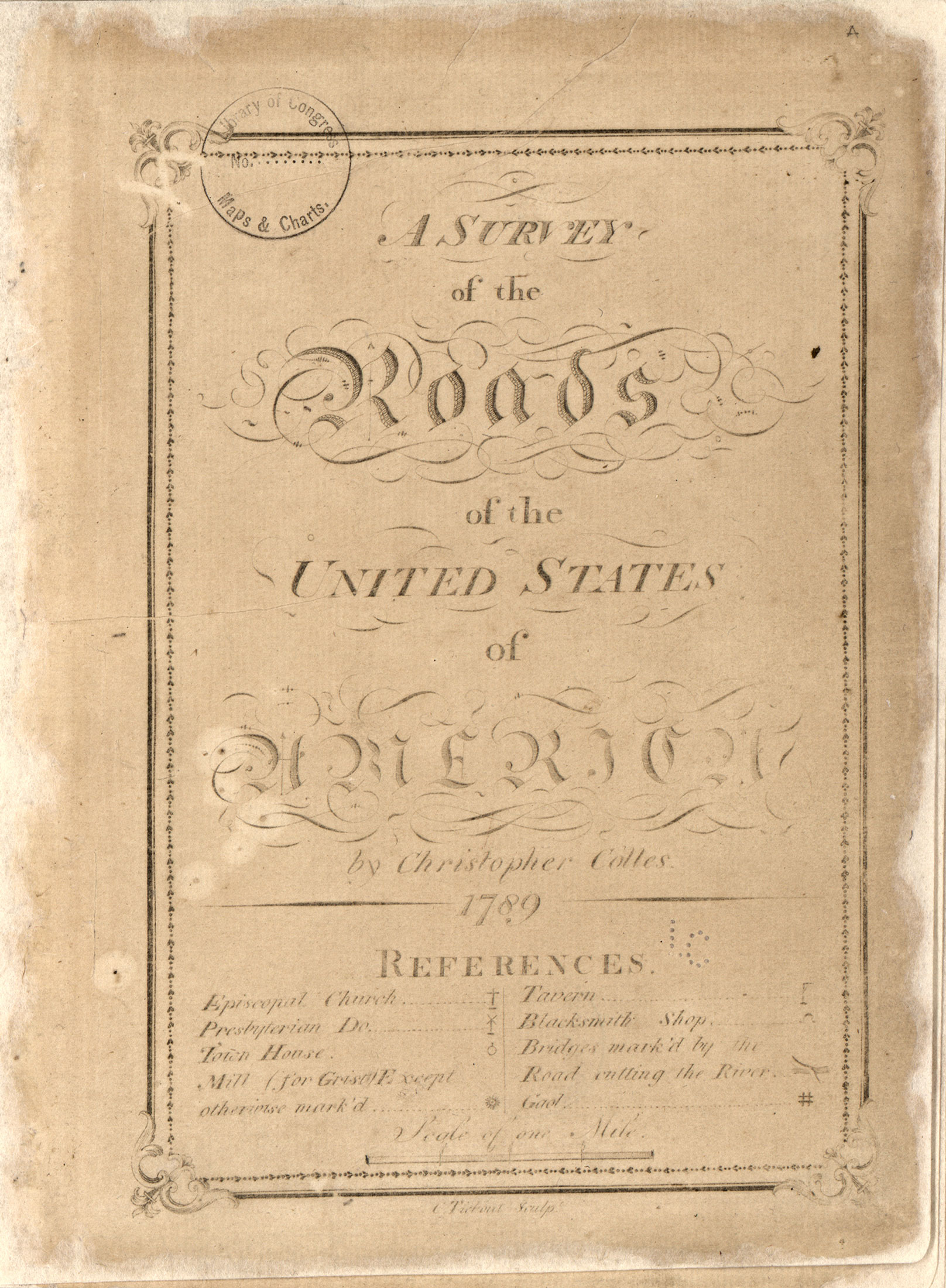 Survey of the roads of the united states of America circa 1789