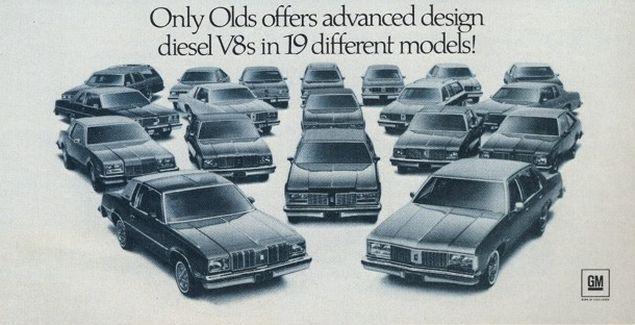 Olds offers diesel V-8s in 19 models