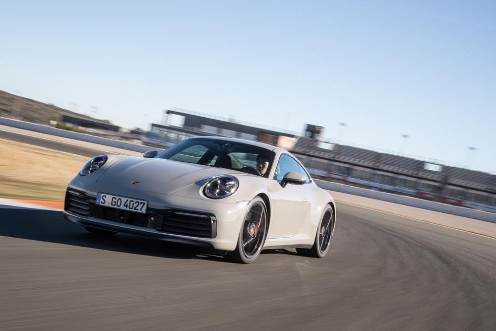 2020 Porsche 911 Carrera S 3/4 drive on track front
