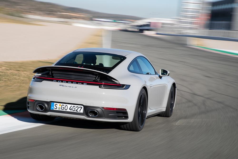 2020 Porsche 911 Carrera S spoiler deployed on track