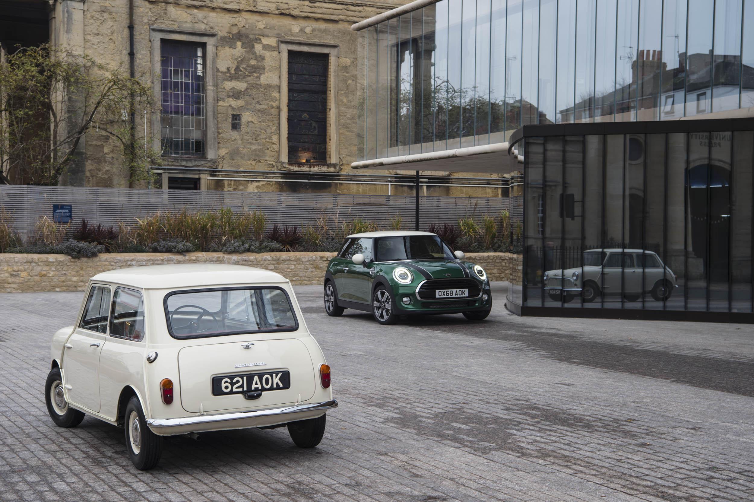 1959 Morris Mini-Minor with 60th anniversary Mini Cooper front and rear