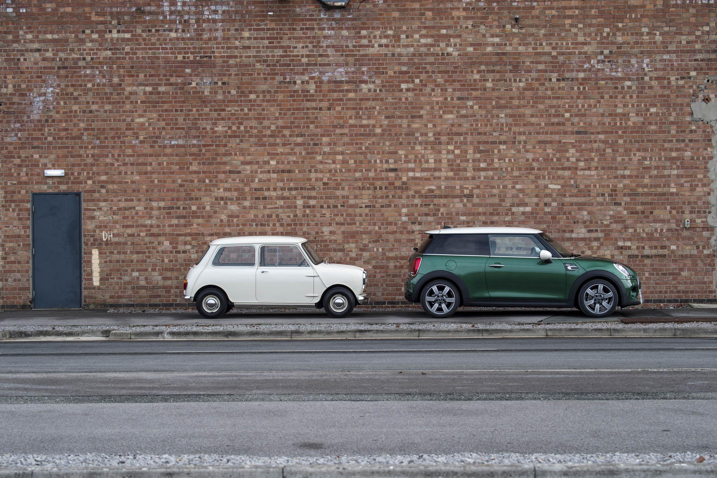1959 Morris Mini-Minor with 60th anniversary Mini Cooper side profiles