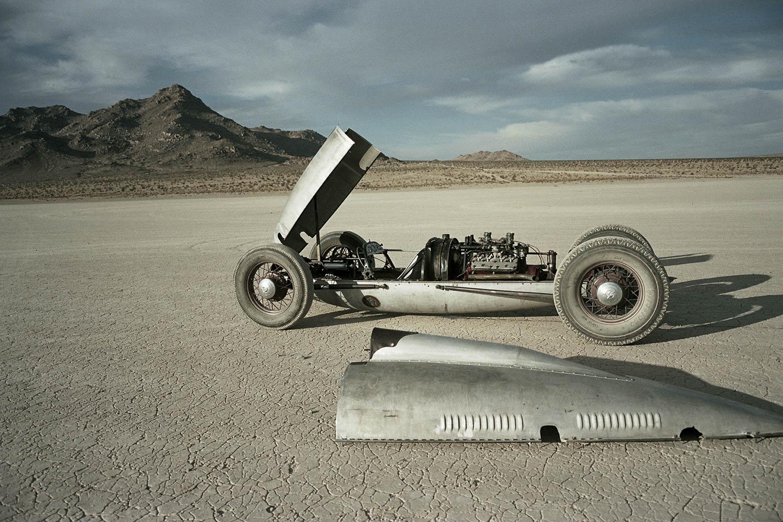 1940s Belly Tank Lakester in the desert
