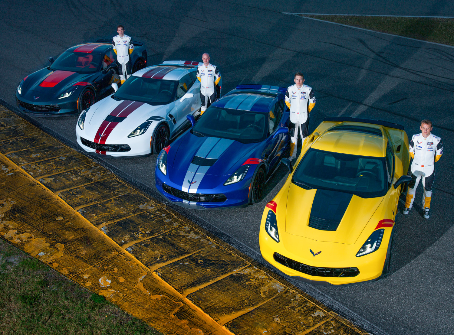 """2019 Chevrolet Corvette Grand Sport """"Drivers Edition"""" lineup with cars"""