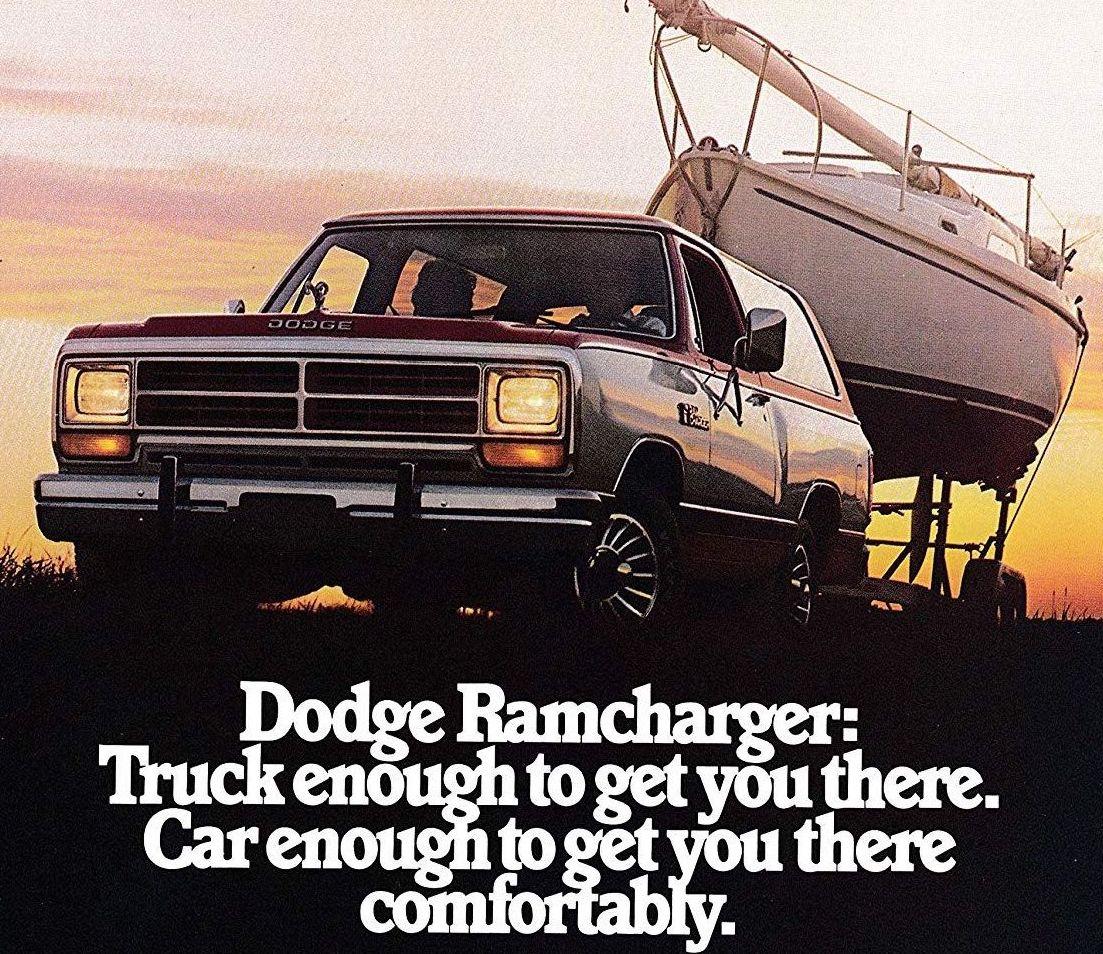 1985 Dodge Ramcharger ad sailboat