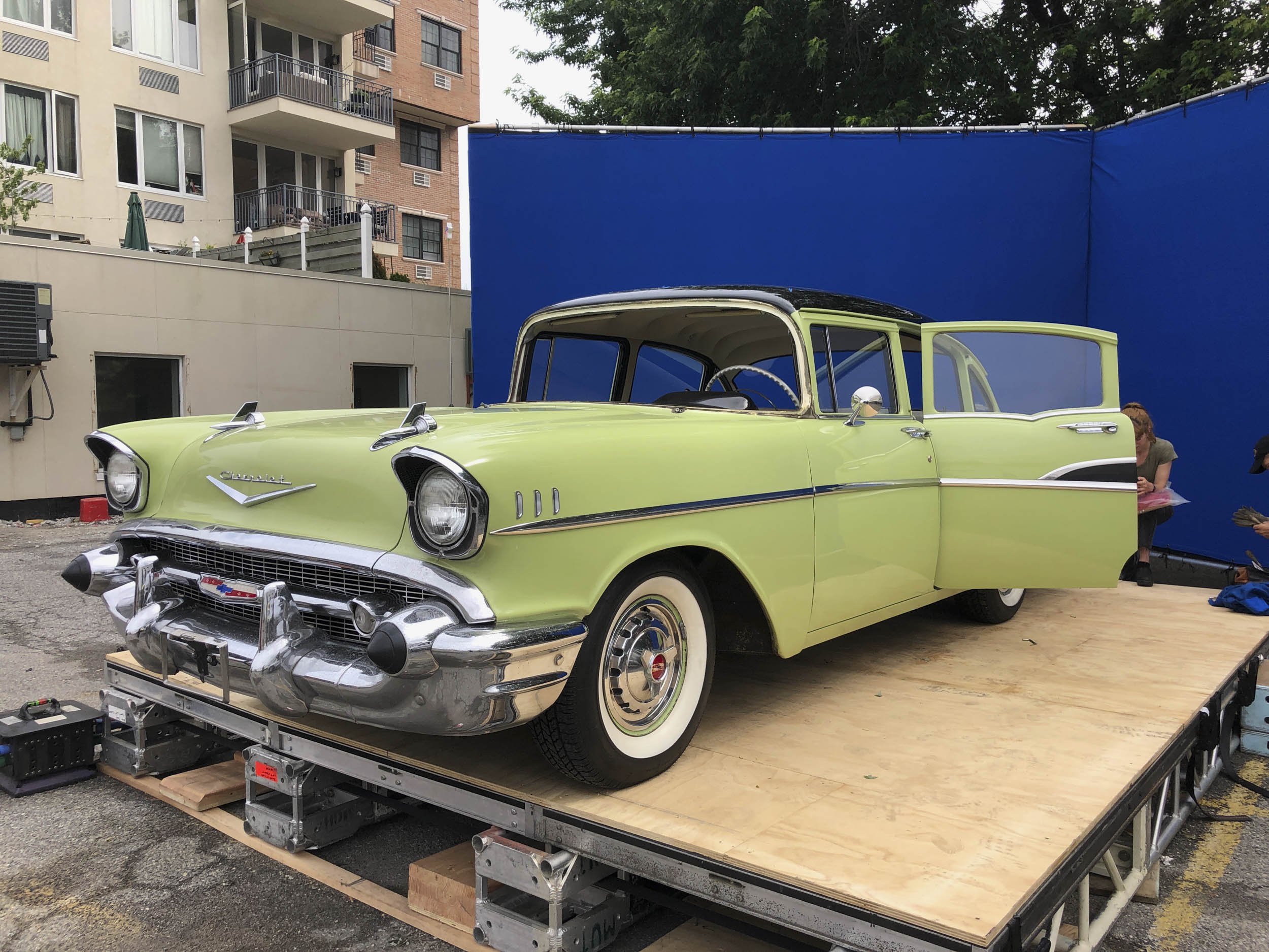 1957 Chevrolet 210, Queens, NY, windscreen removed for blue screen work.
