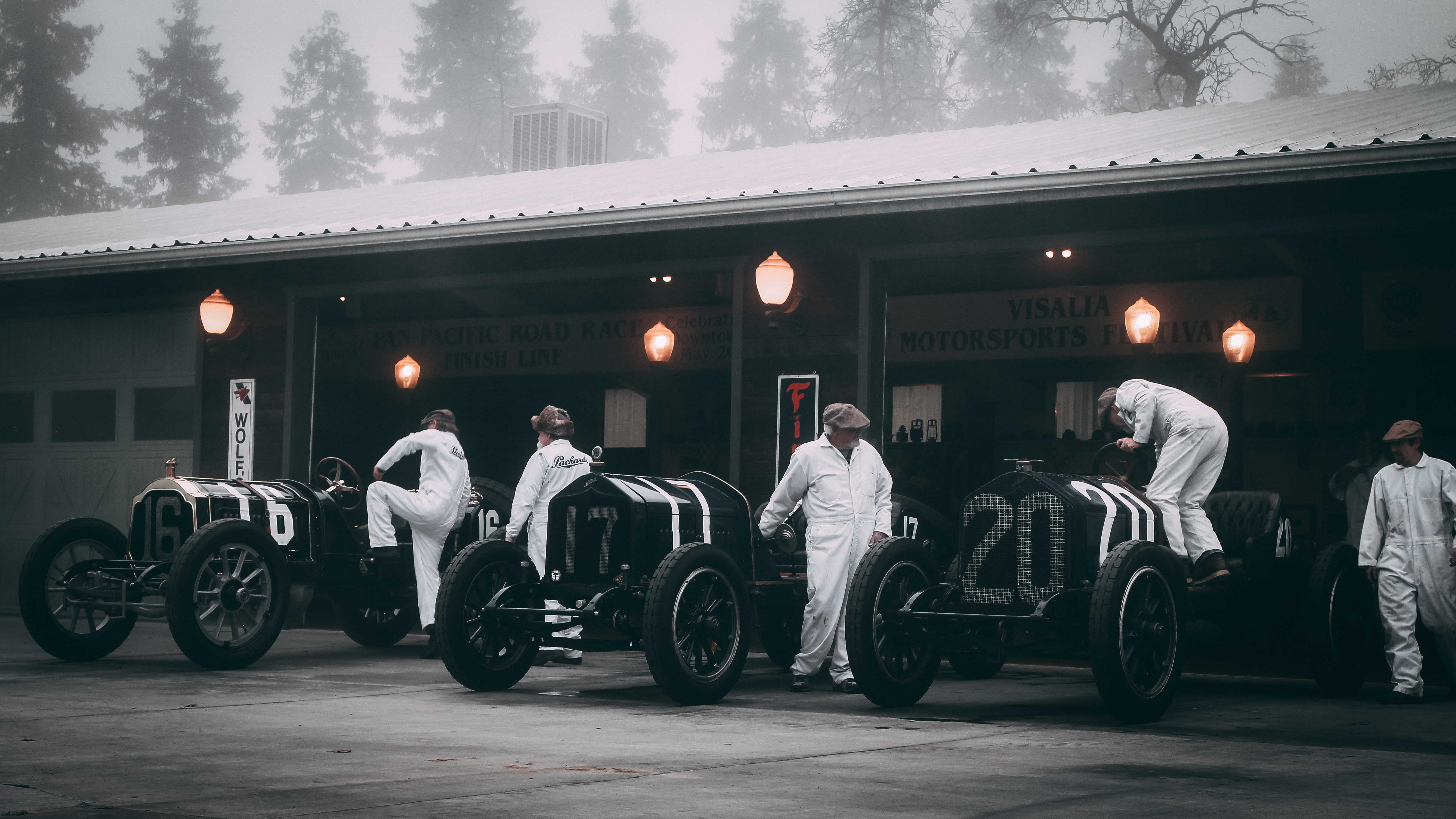 group of classic race cars