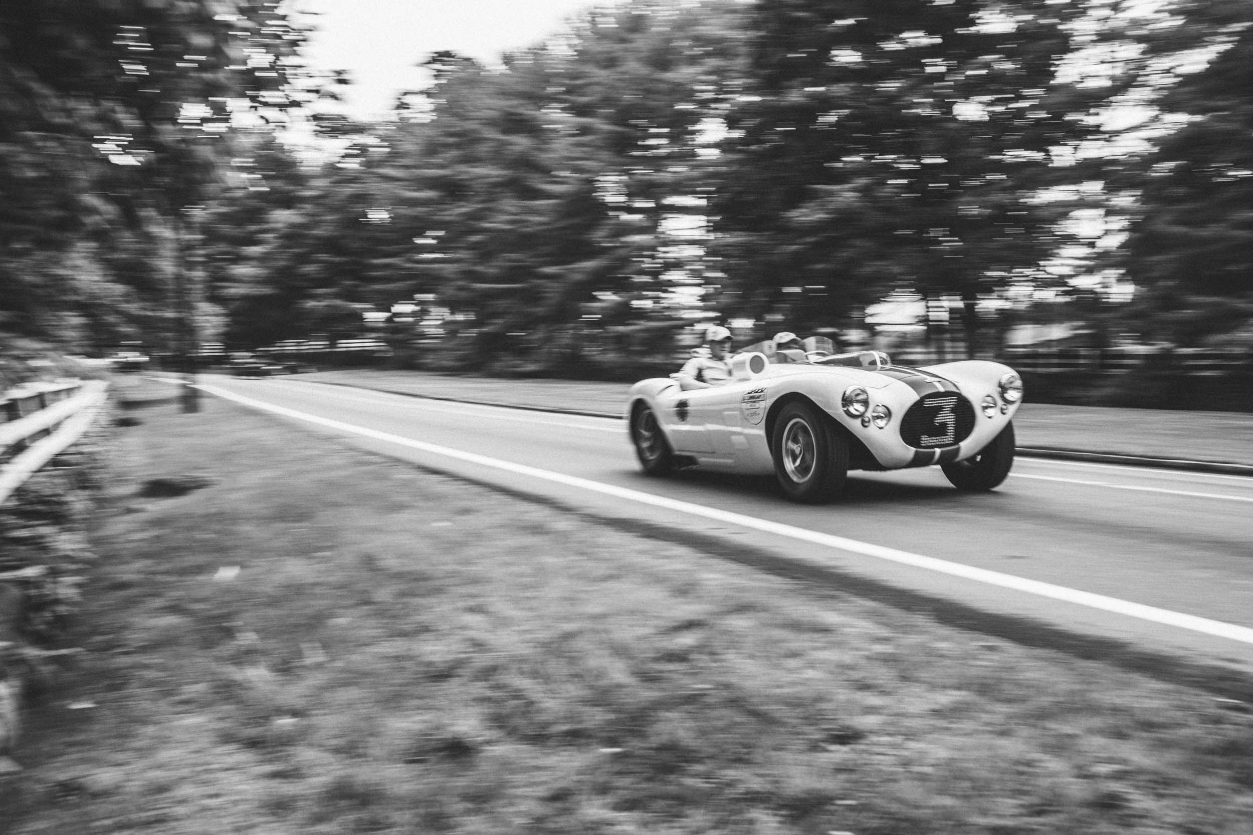 "The '54 Le Mans effort included this C4R, which had engine trouble. At Le Mans, Briggs said, ""It's not a question of how fast you go but how slow you dare to go to save the motor and still keep your standing."""