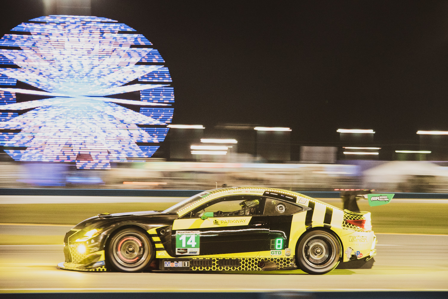 This Lexus RC F GT3 had a killer bee neon wrap that lit up the night.
