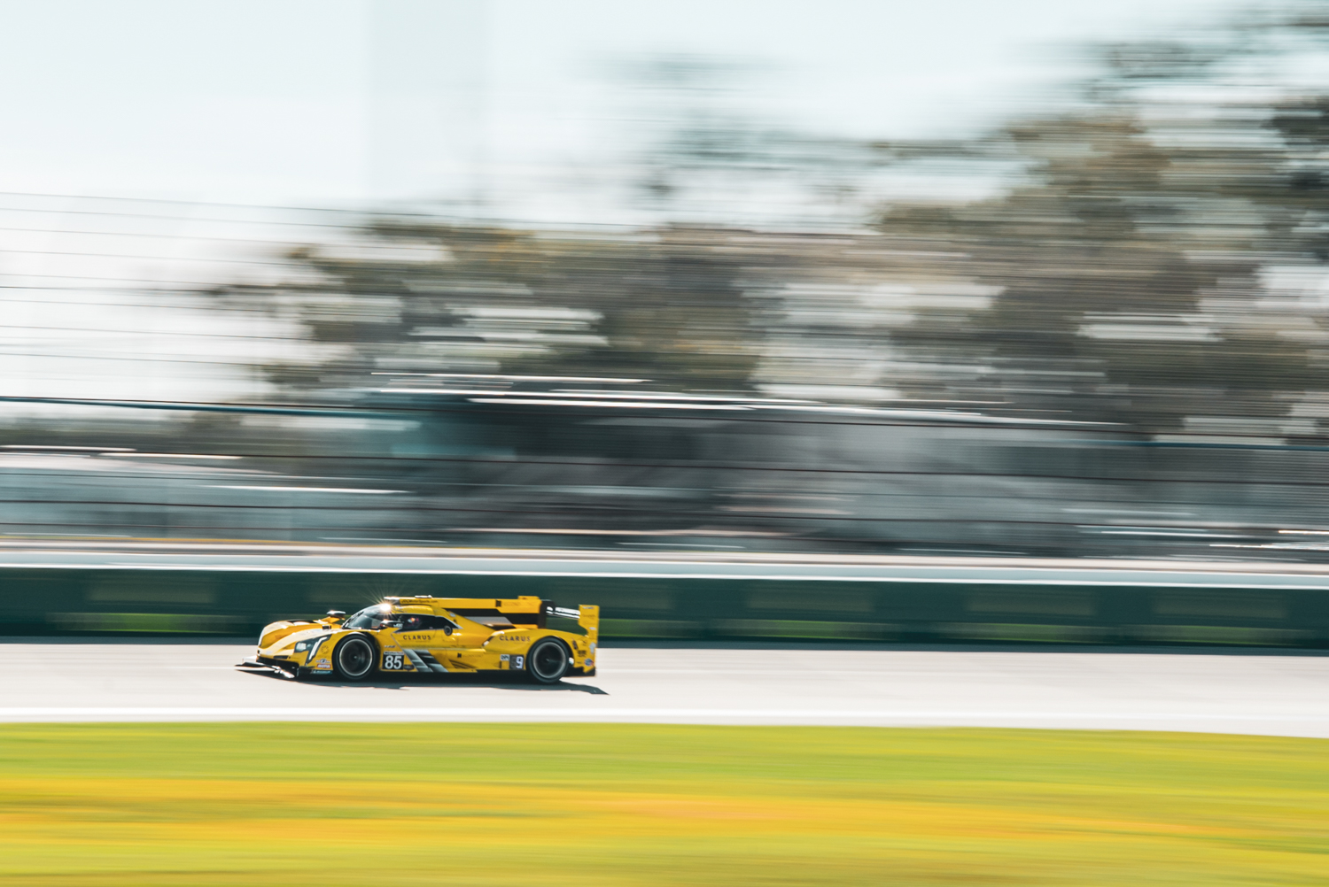 A Cadillac DPi soaks in the last bit of sun on the Friday before a stormy weekend.