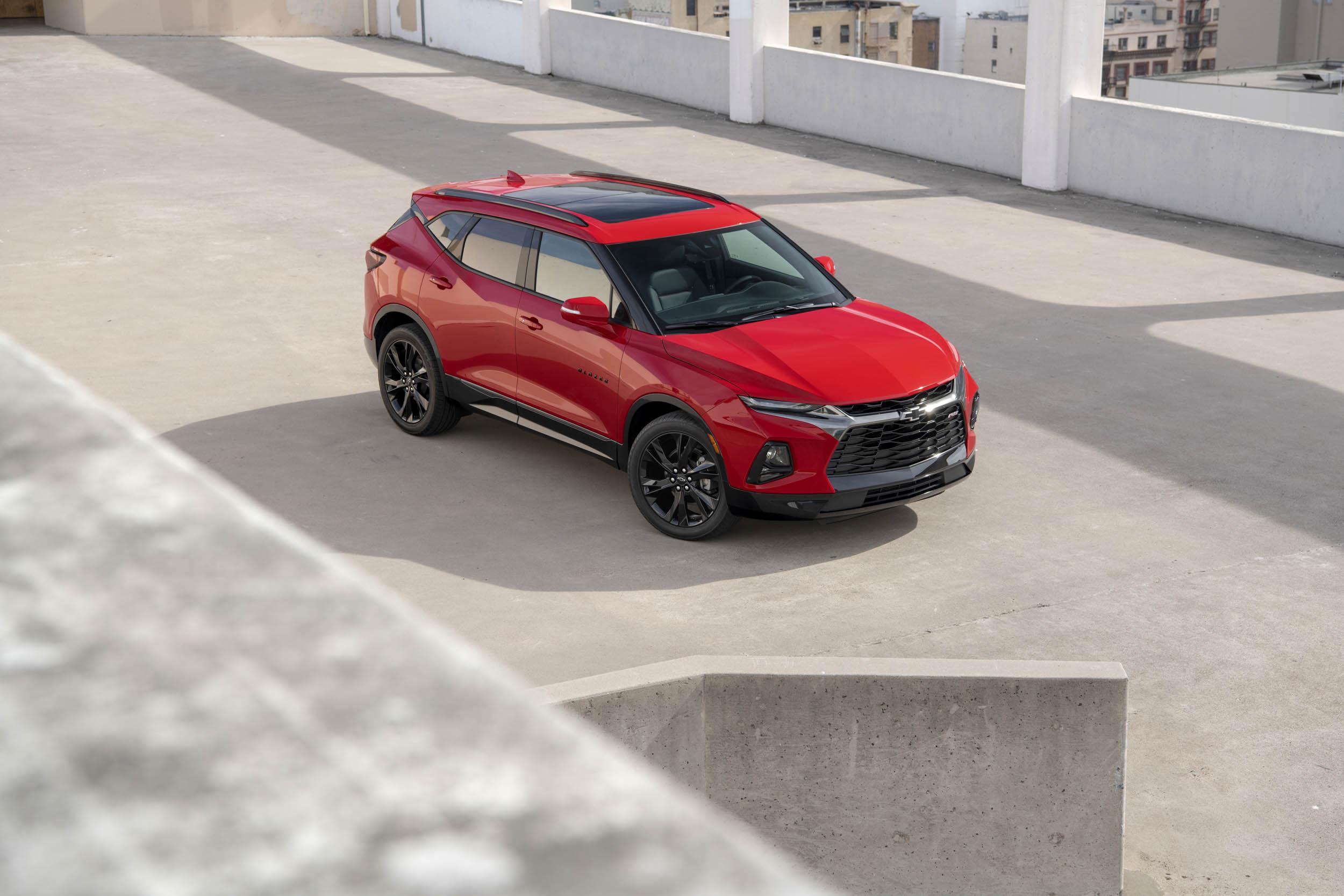 red 2019 Chevrolet Blazer overhead
