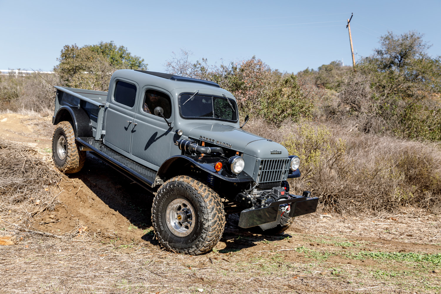 1949 Dodge Power Wagon off road down hill