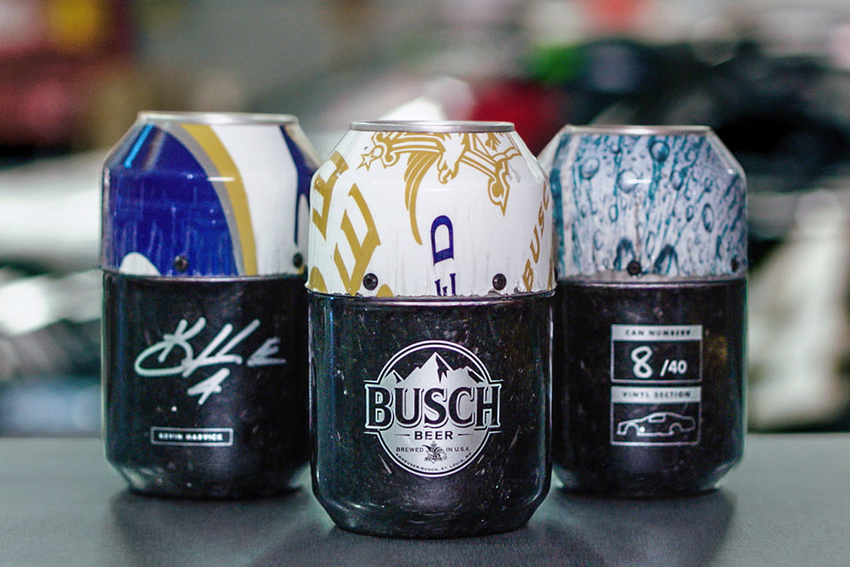 Busch Beer nascar cans