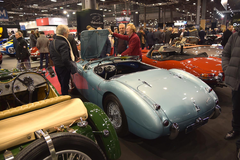 Retromobile hood up blue roadster