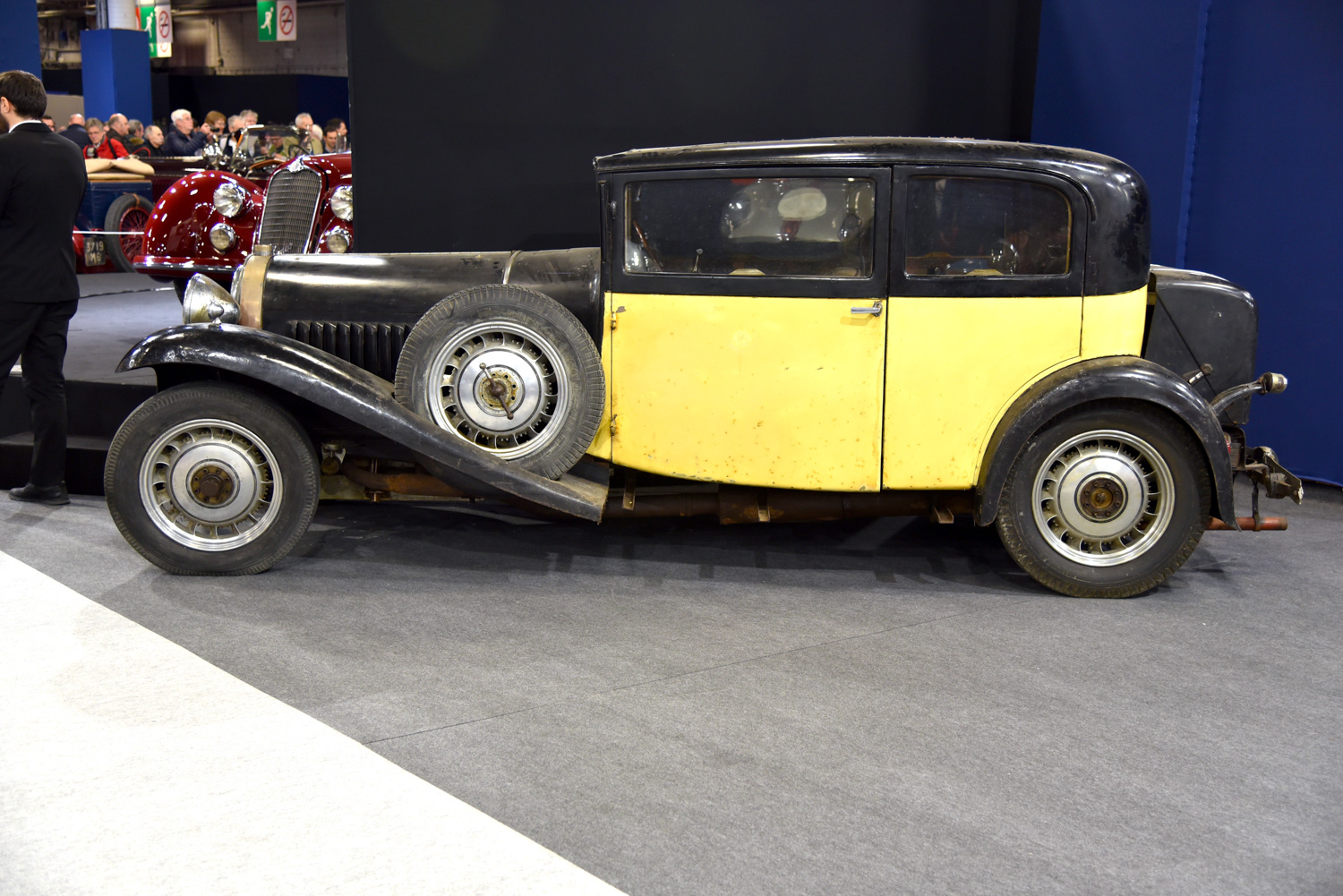 Retromobile black and yellow classic french car