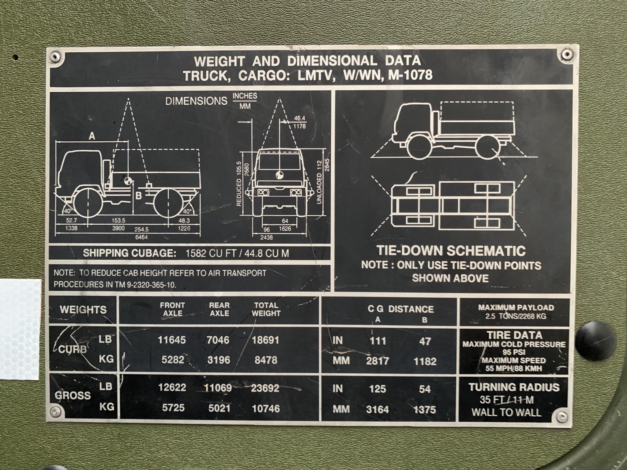 1998 Stewart & Stevenson LMTV M1078 build plate