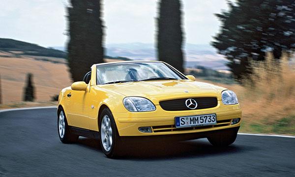 1996 Mercedes-Benz SLK230 yellowstone front three quarter