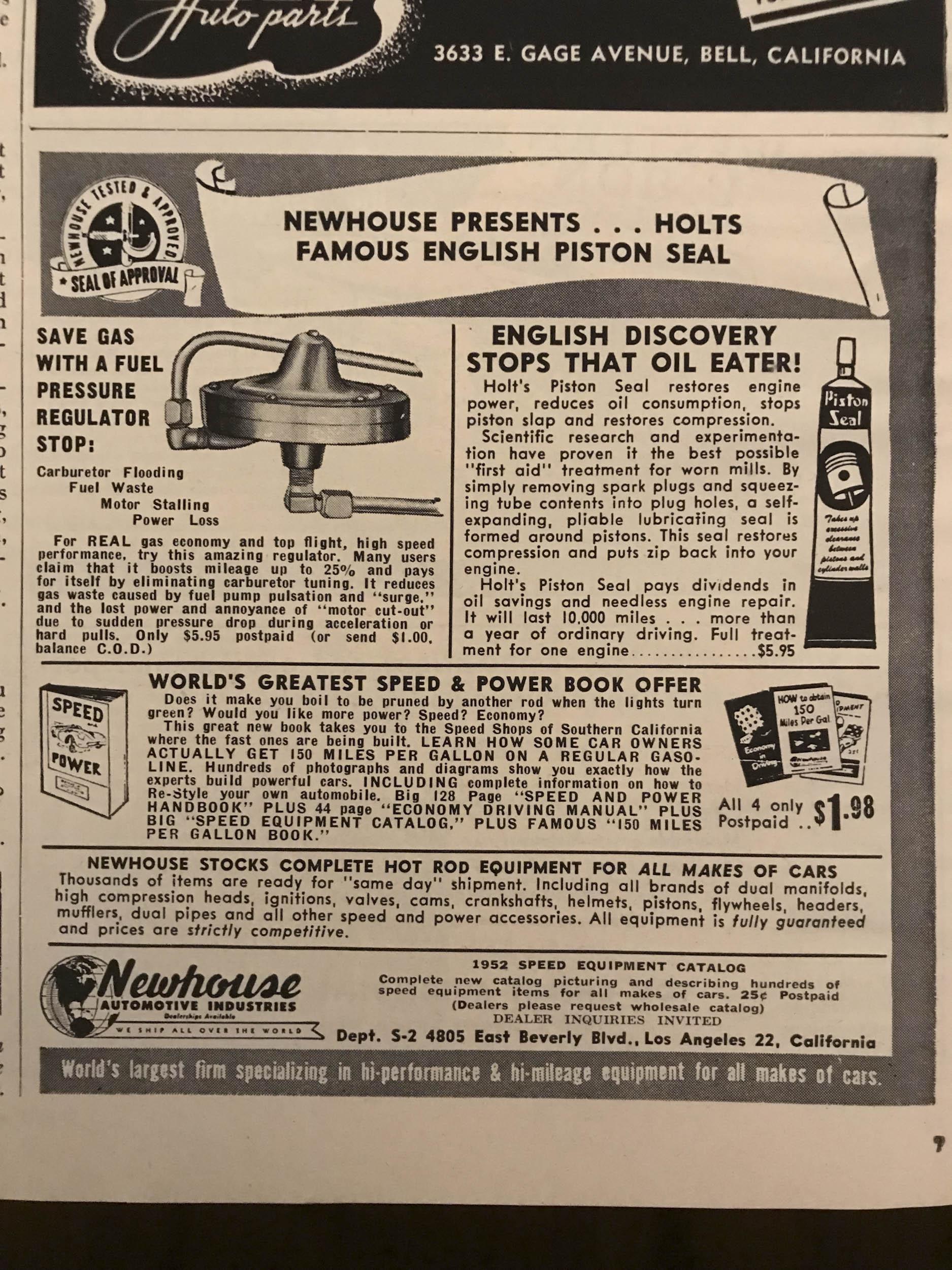 Newhouse Fuel Pressure Regulator Stop (1952)