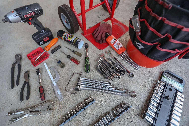 Junkyard tool kit set up