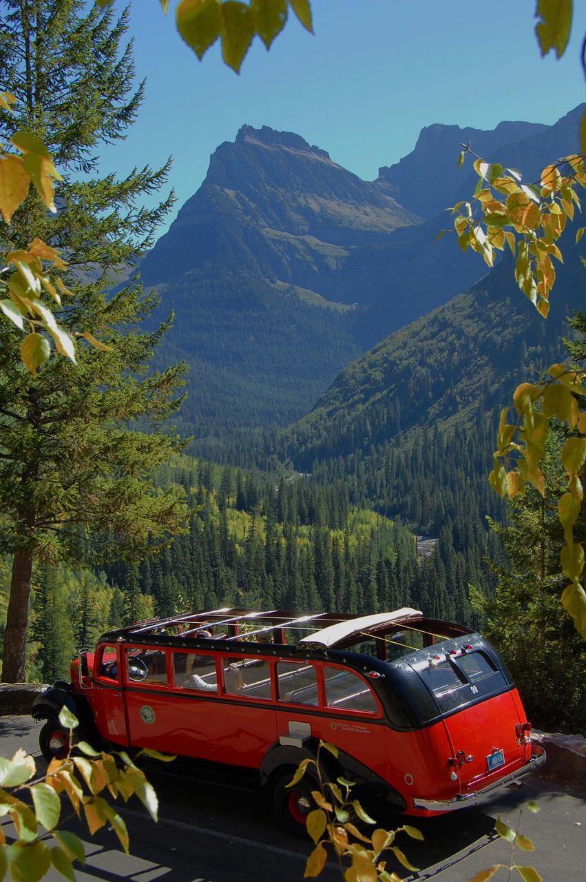 Glacier National Park bus 3/4 rear
