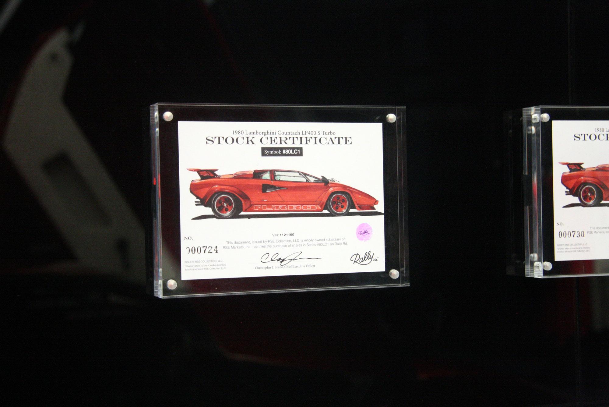 1980 Lamborghini Countach LP400 S Turbo plaque
