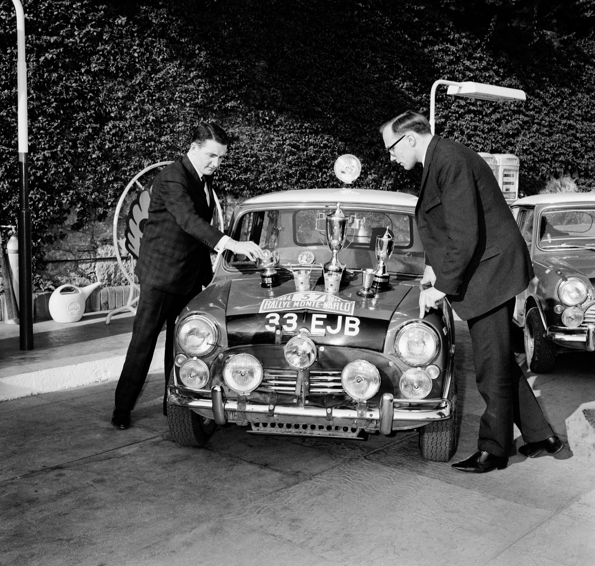 Paddy Hopkirk driving a Mini Cooper S in the 1964 Monte Carlo Rally