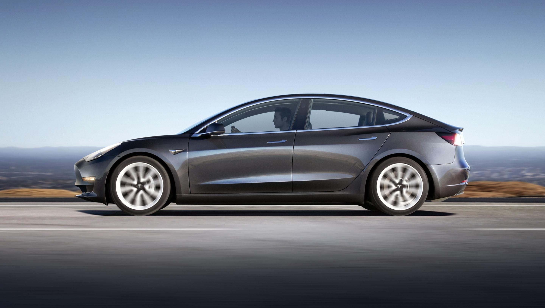 Tesla Model 3 profile side gray