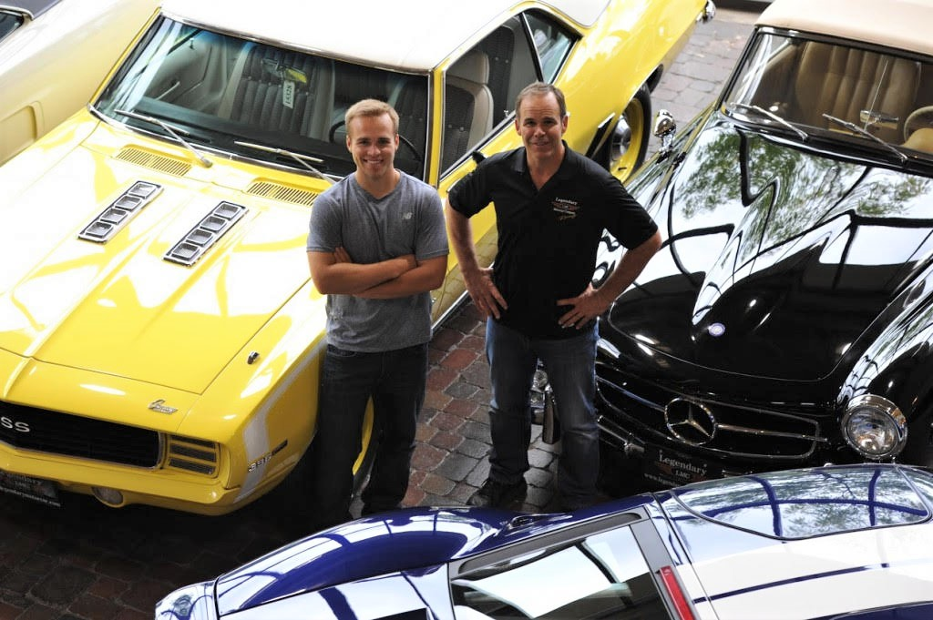 Peter Klutt (right) and with his son, NASCAR driver Gary Klutt