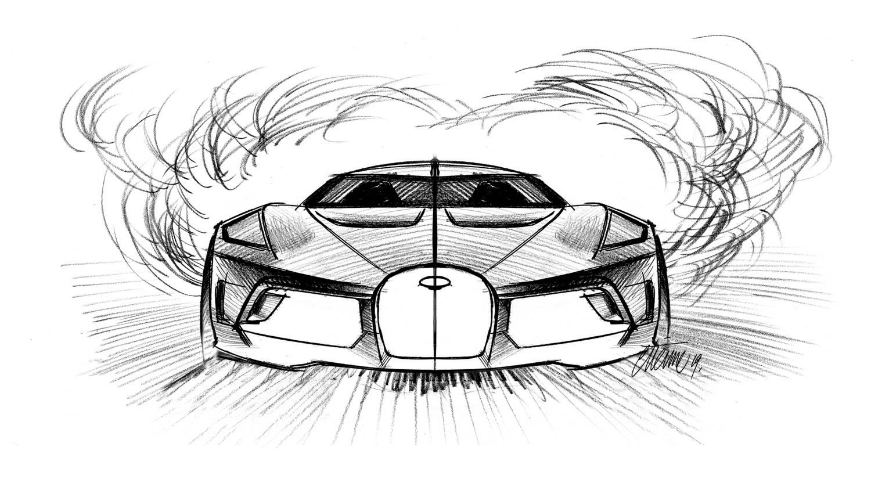 """Bugatti """"La Voiture Noire"""" front sketch"""