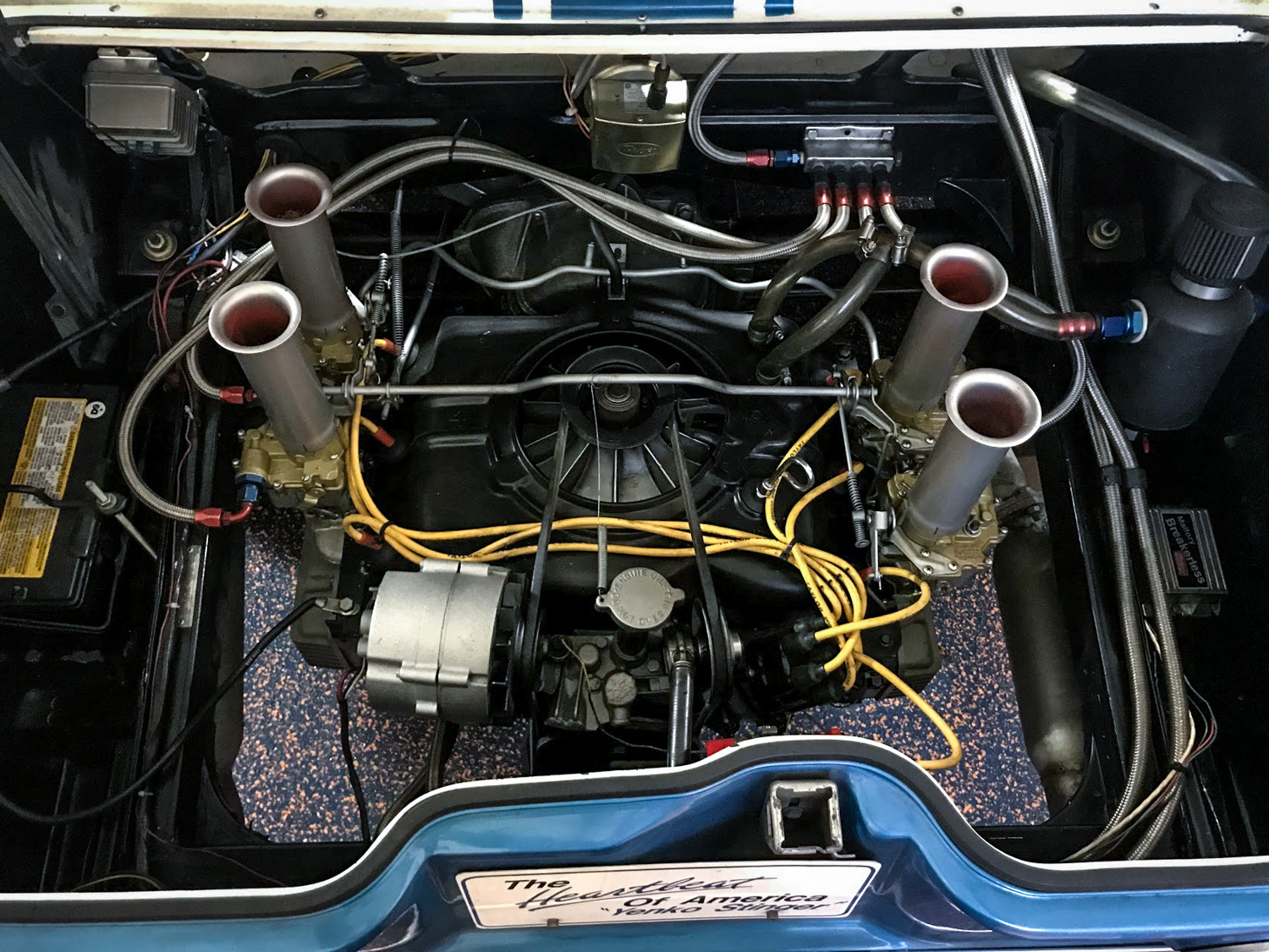 The Yenko tuned engine features special carburetors, camshaft and exhaust.