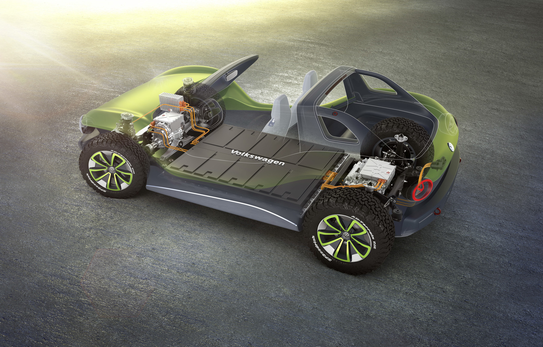 Volkswagen I.D. Buggy power plant and body