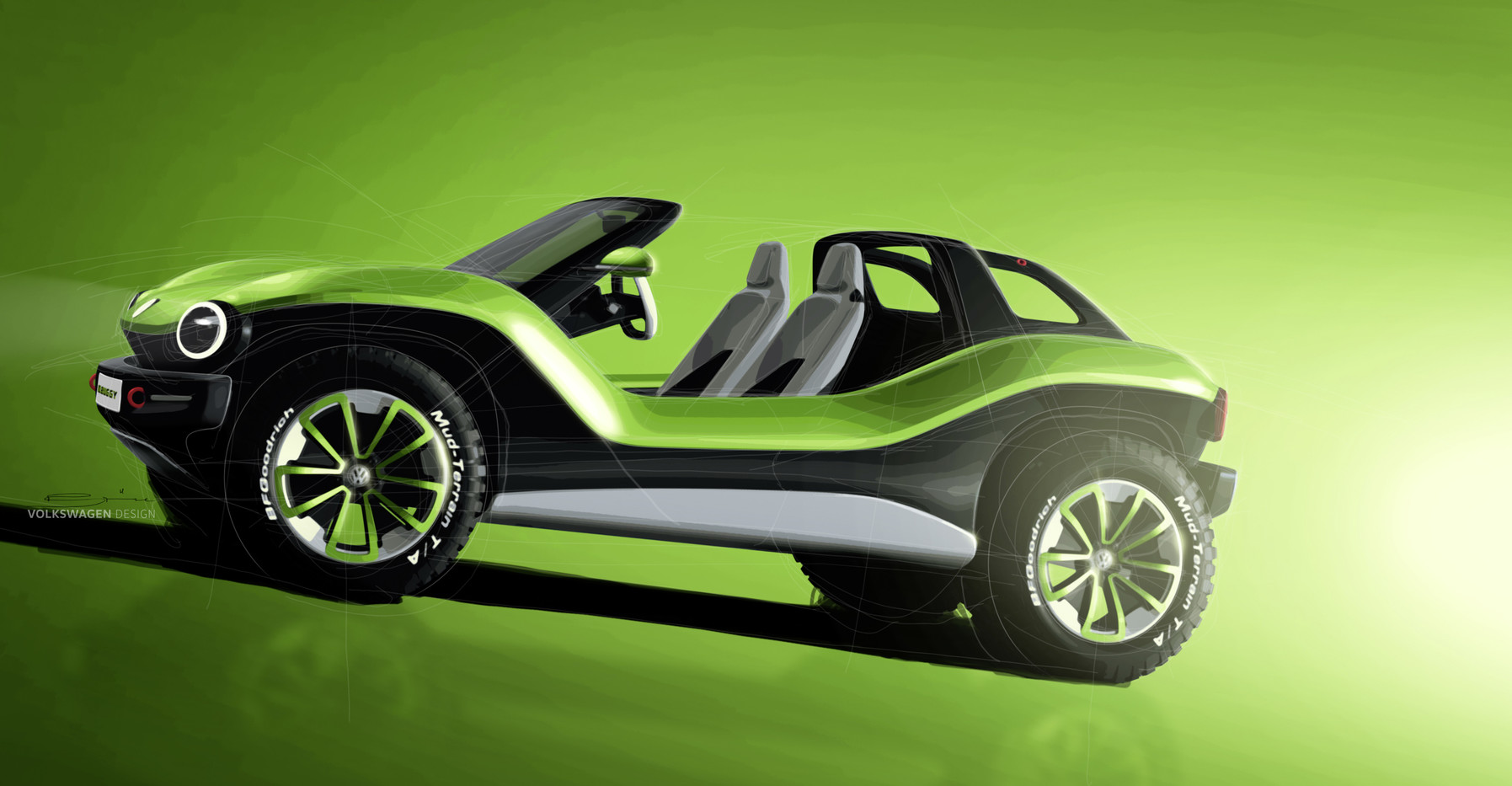 Volkswagen I.D. Buggy green background