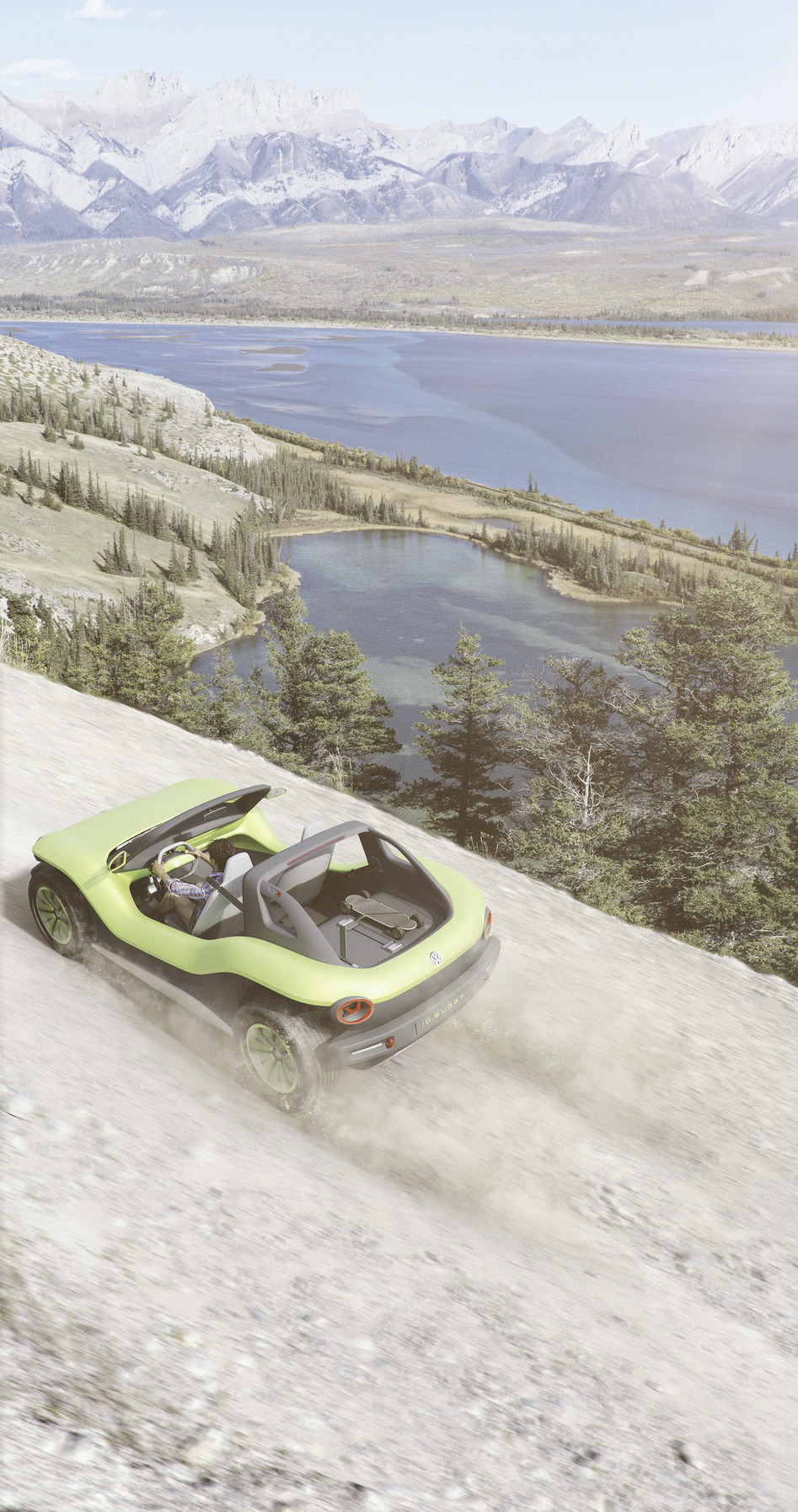 Volkswagen I.D. Buggy overhead in the mountains
