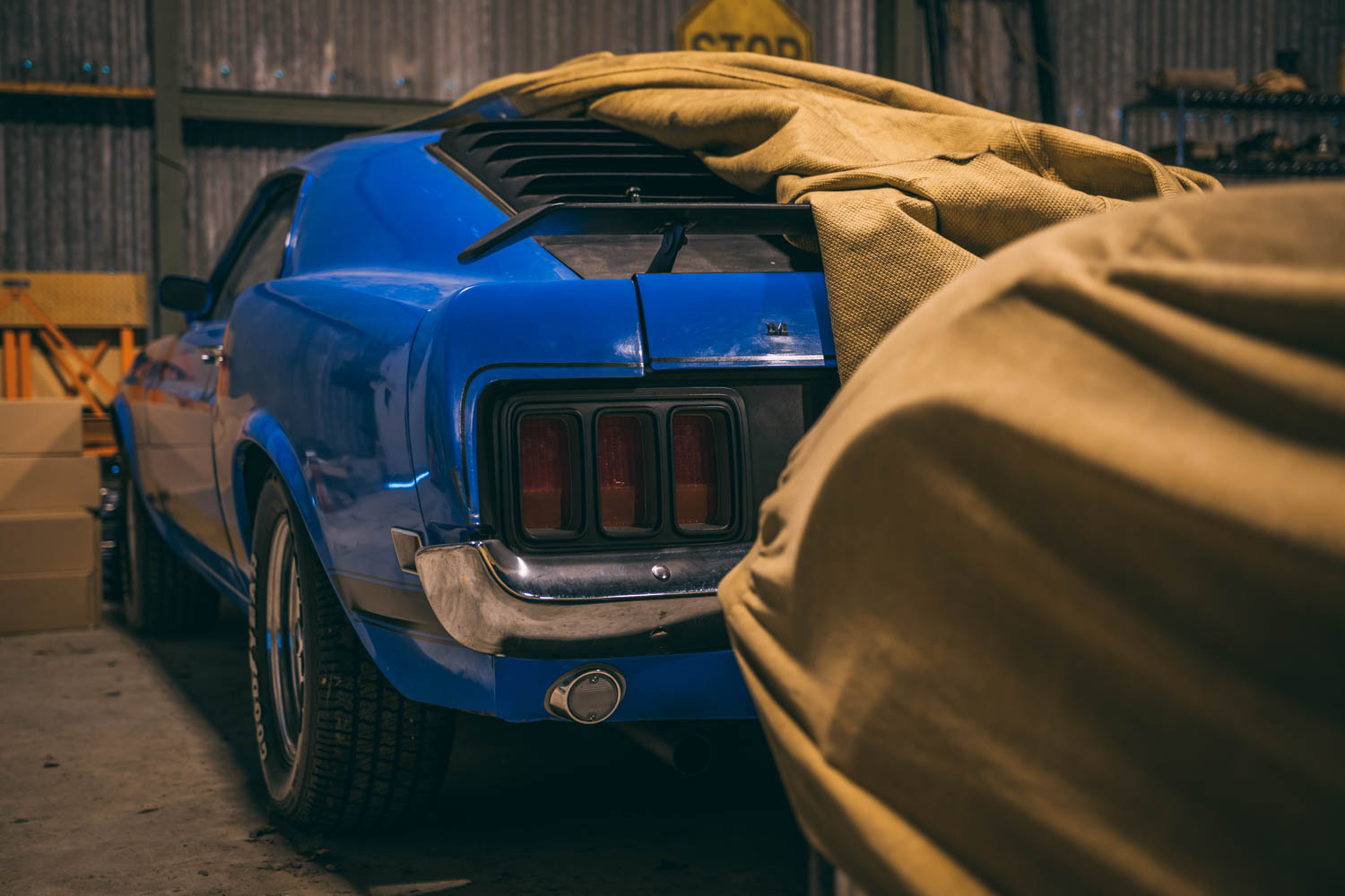 Mustang under a cover