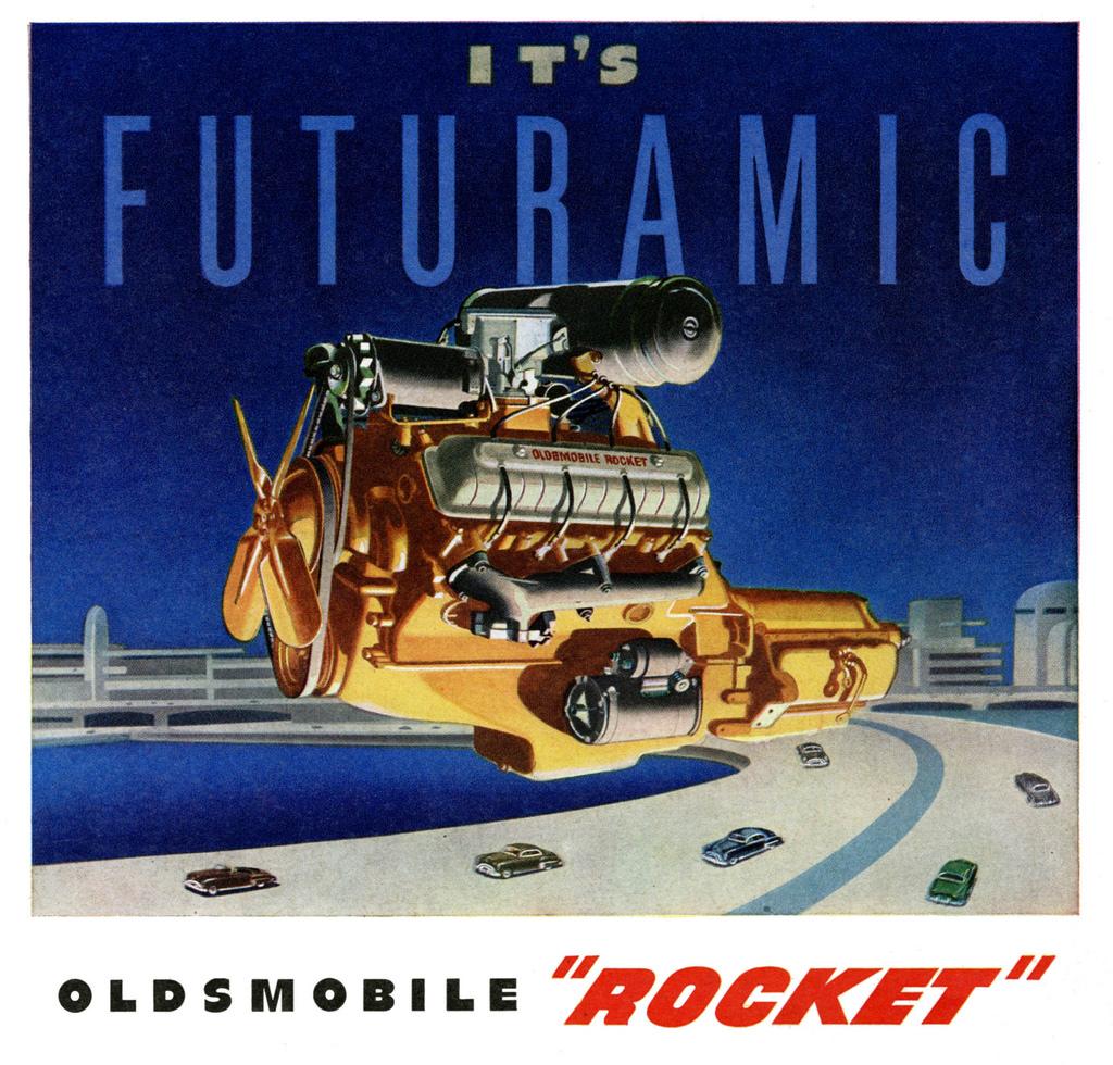 Oldsmobile overhead valve V-8 engine Rocket ad