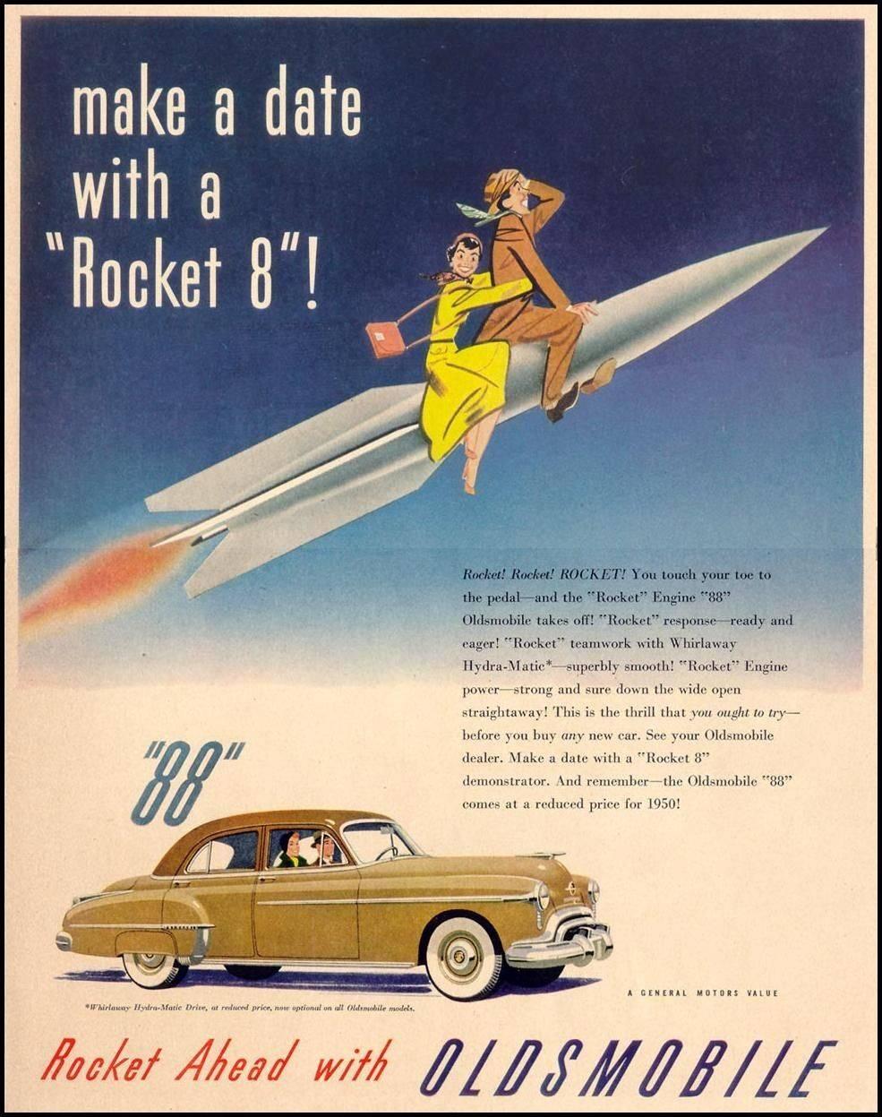 Oldsmobile Rocket 8 engine Olds 88 advertisement