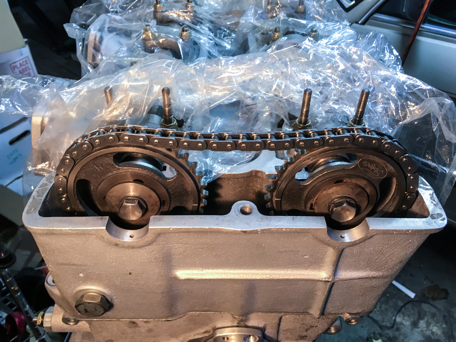 The fully-assembled head with the cam gears and timing chain in place.