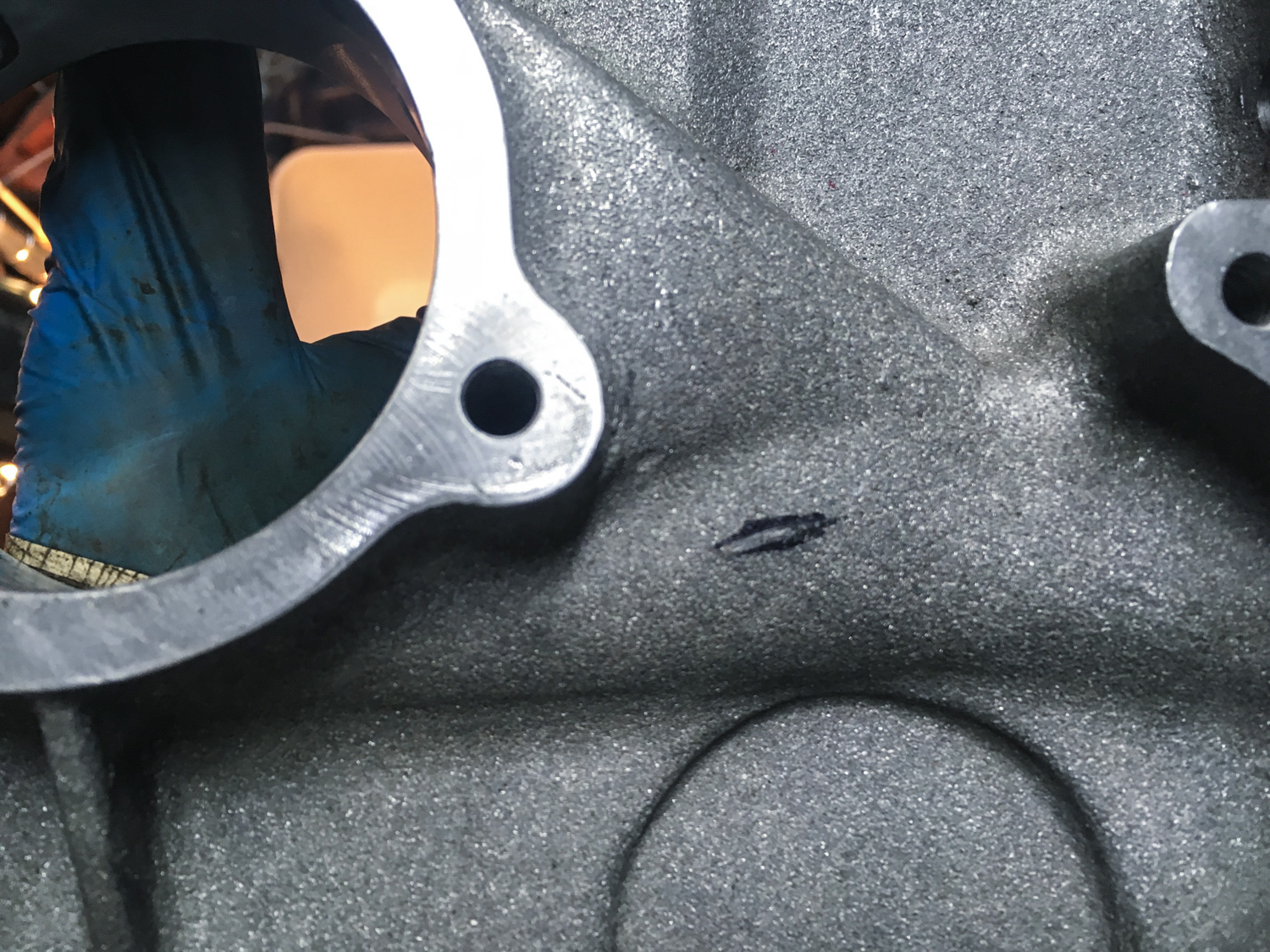 The result of a little light grinding to remove a jackshaft gear clearance issue.
