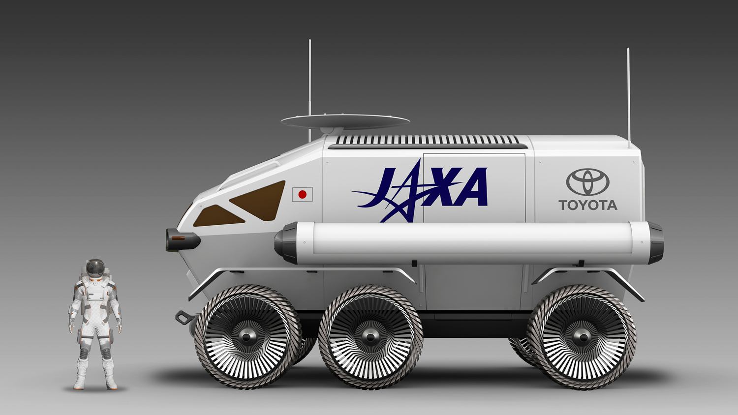Toyota Pressurized Moon Rover concept side with astronaut