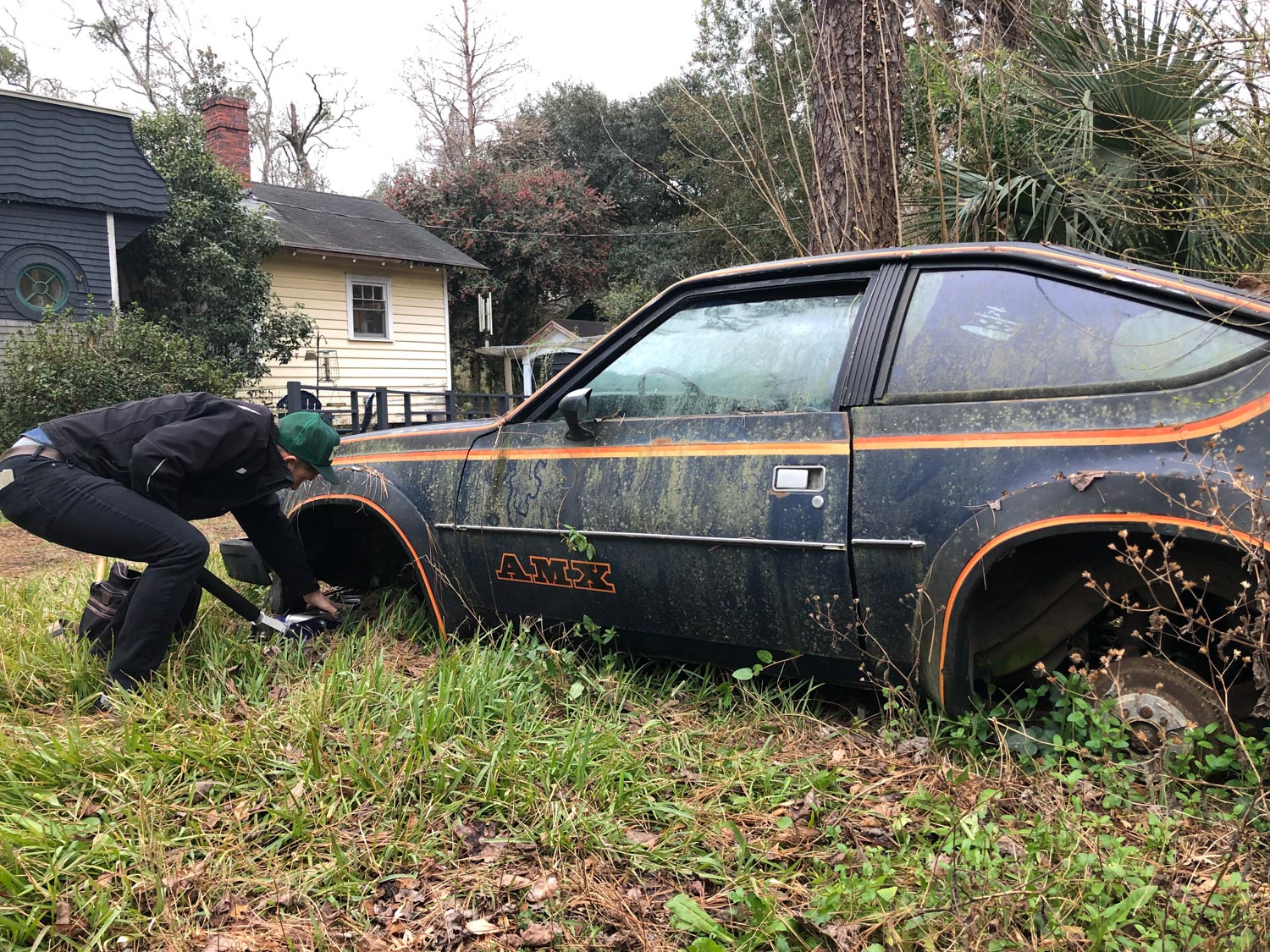 amc amx derelict moss covering on ground