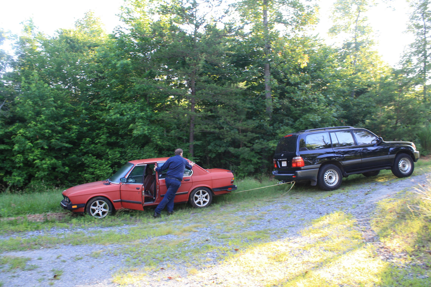 towing derelict bmw up hill