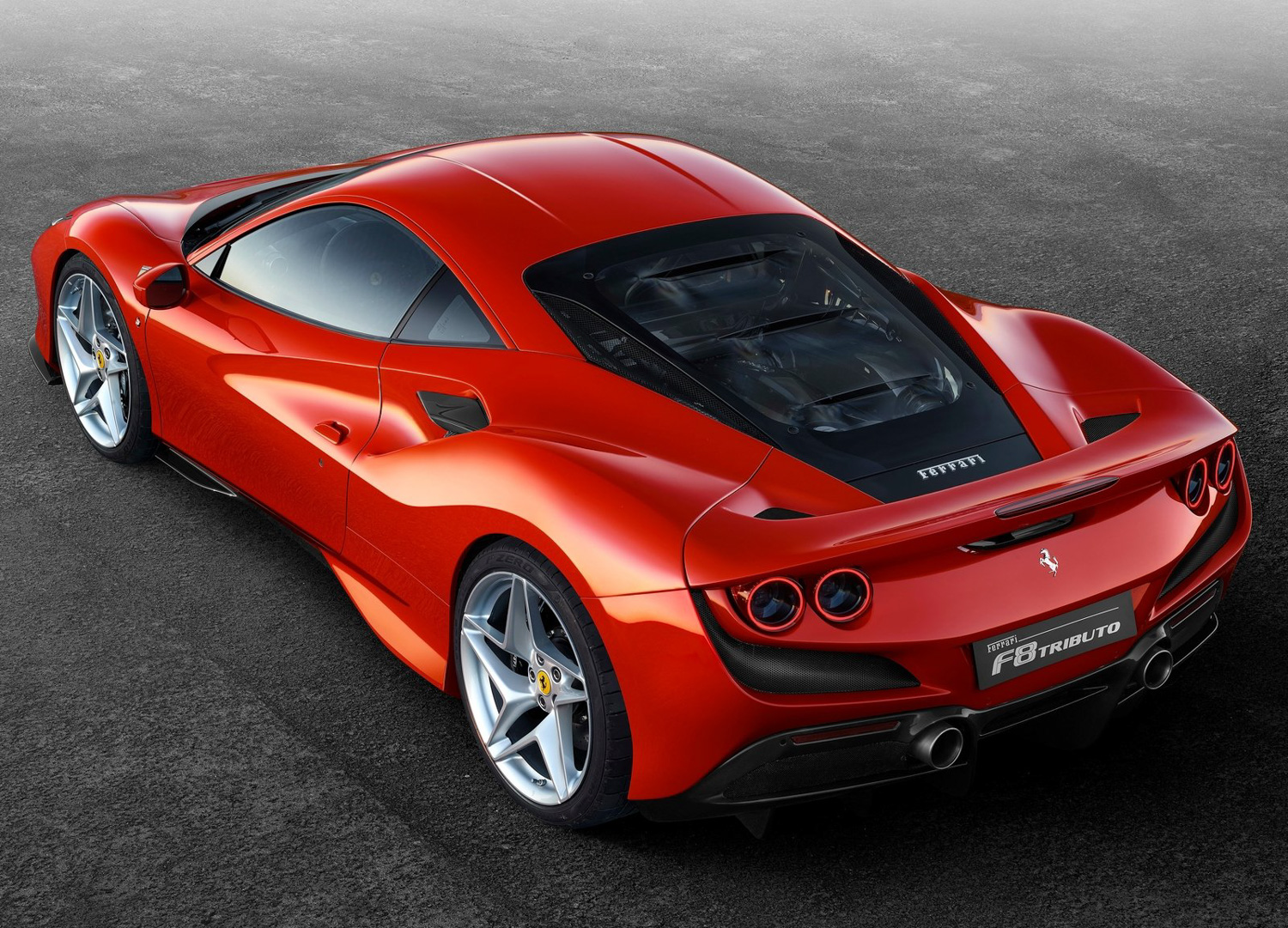 2020 Ferrari F8 Tributo rear 3/4 view high
