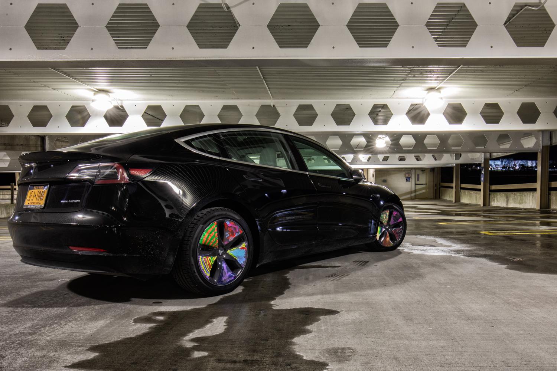 Tesla Model 3 AWD 3/4 rear painted wheels