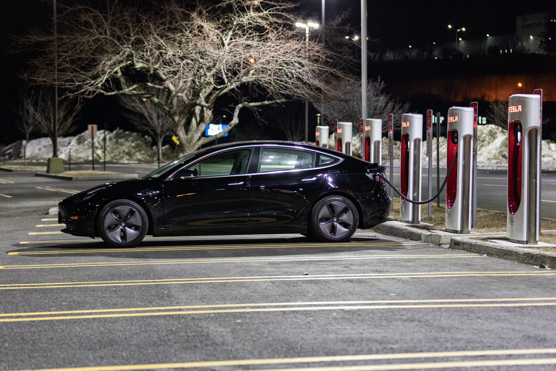 Tesla Model 3 AWD charging side view